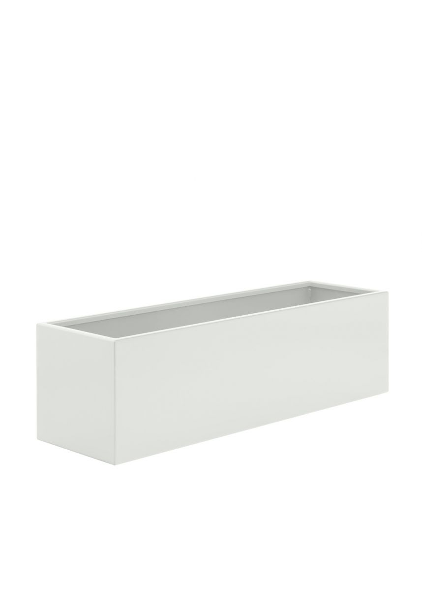 White trough planter in steel