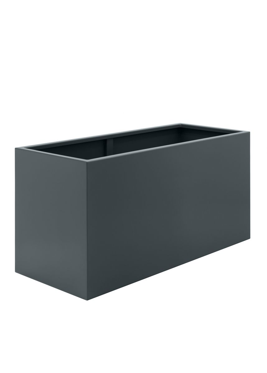 Dark Grey Modern Steel Trough Planters