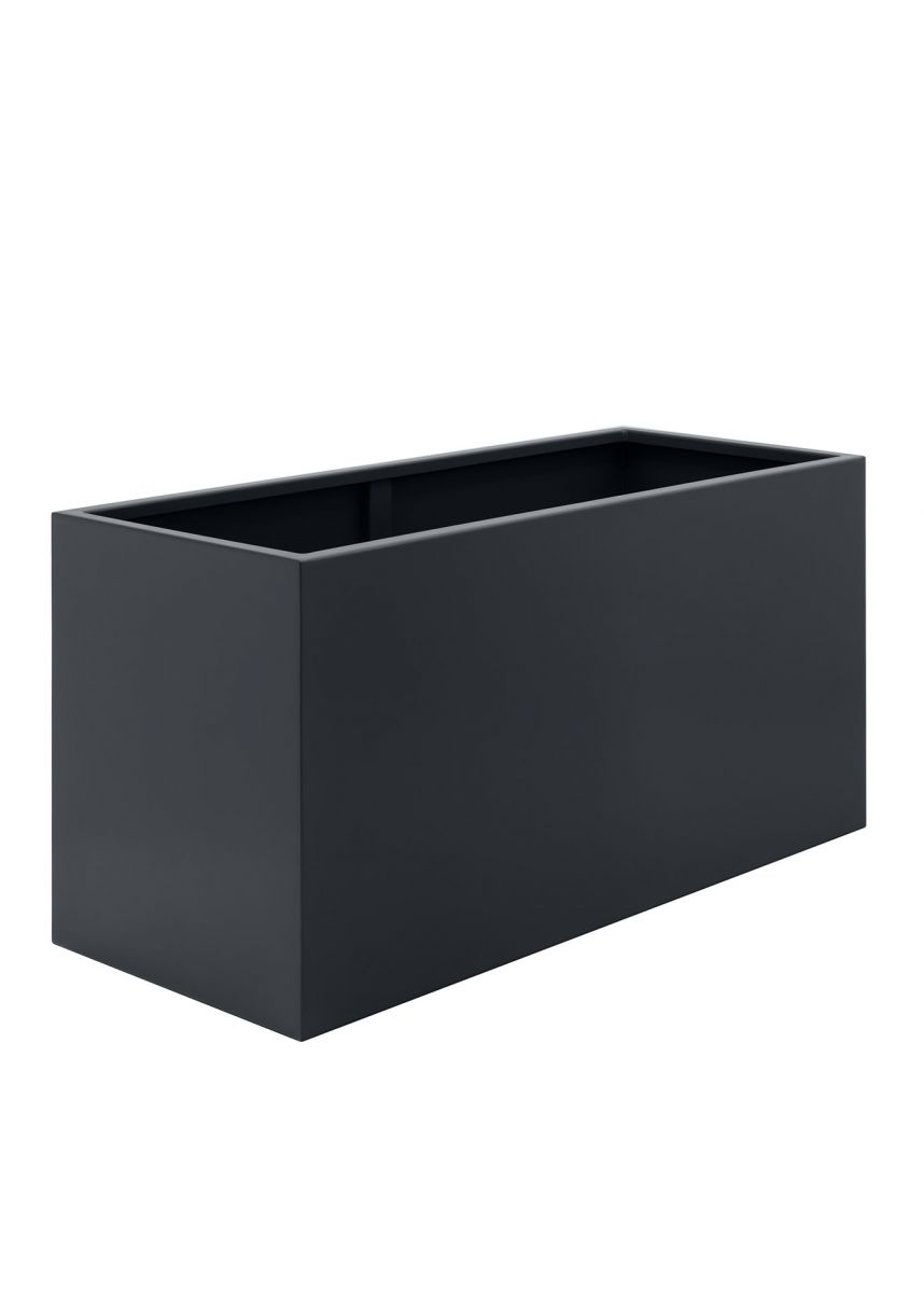 Large black grey outdoor steel planters