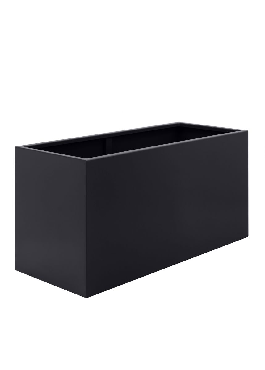 Black large powder coated steel planters
