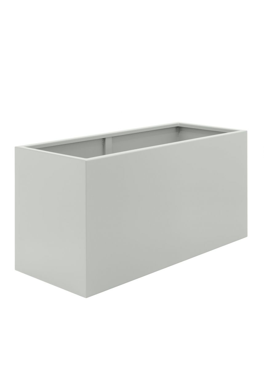 White Large Steel Trough Planters