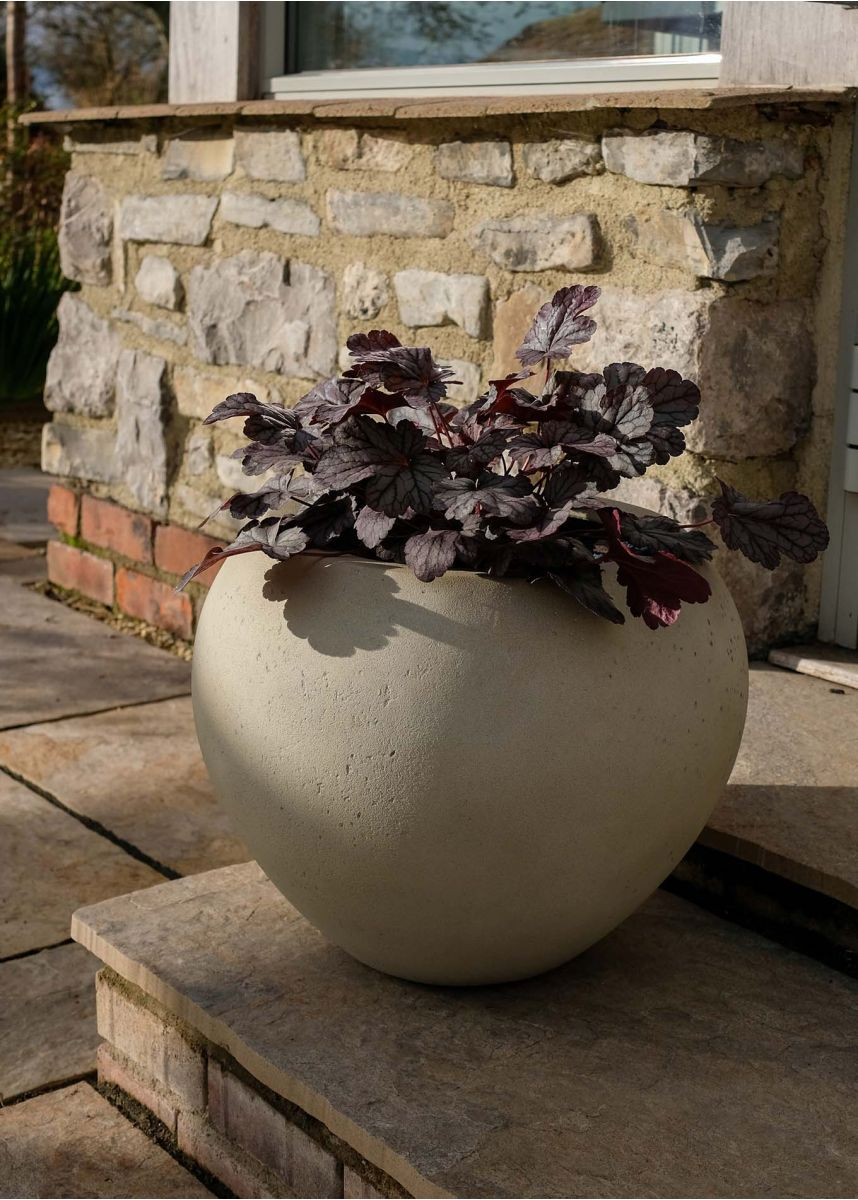 Light stone coloured outdoor planter