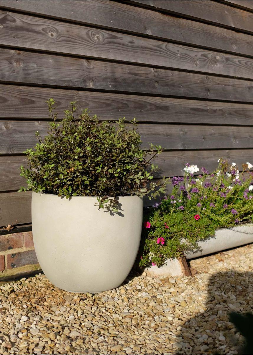 Antique white round outdoor planters