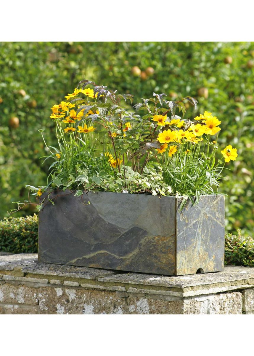 Slate rectangular planter box
