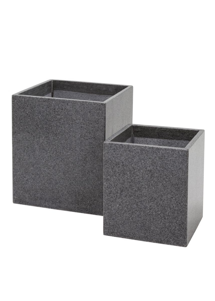 granite tall square garden planter