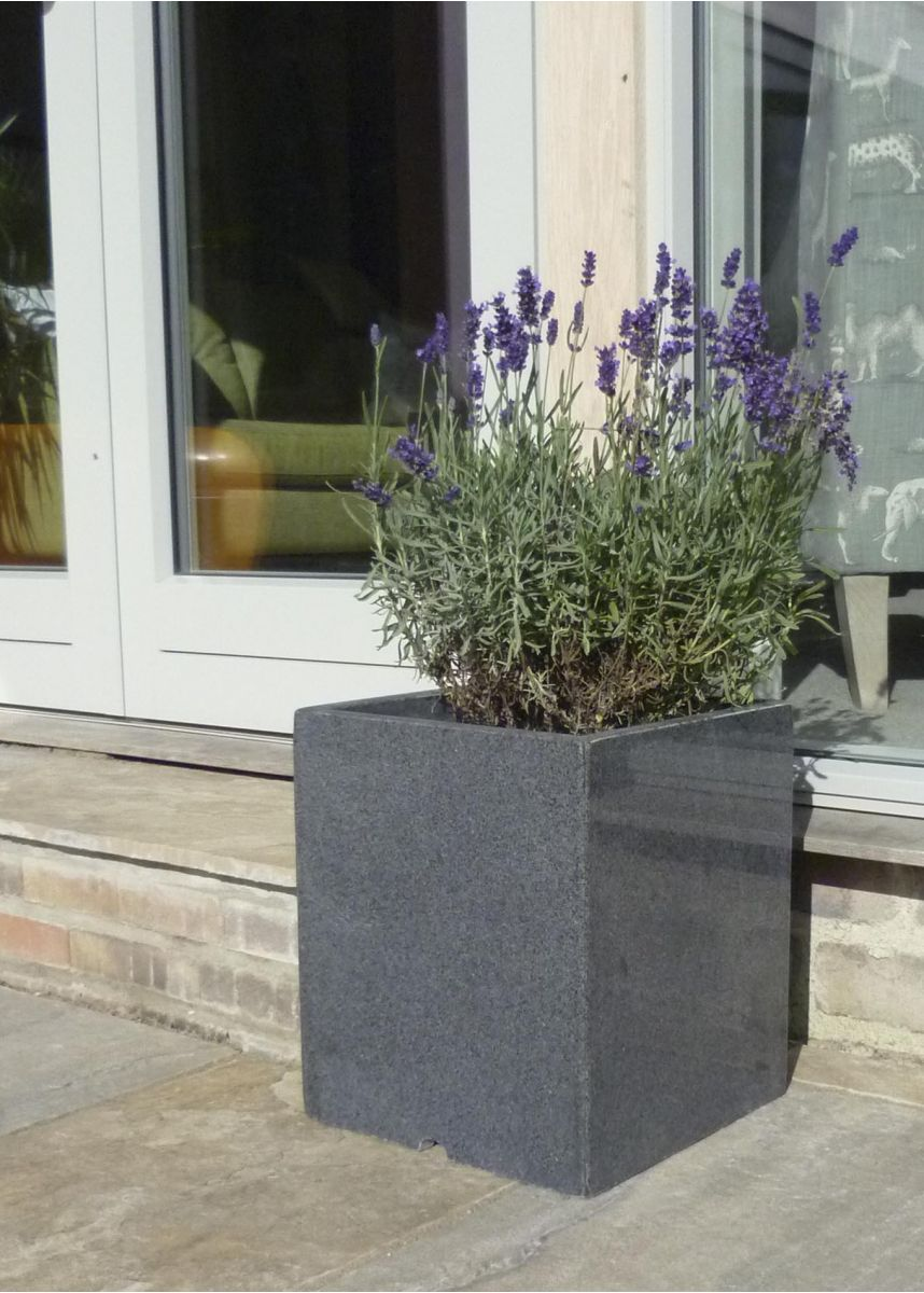 polished stone planter box