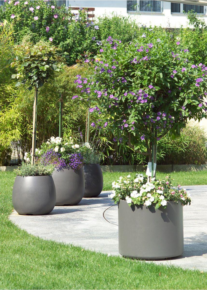 Lightweight round weatherproof plant pots