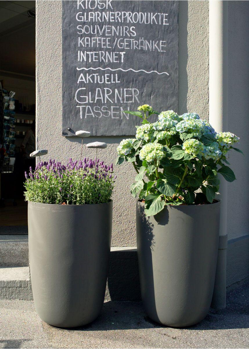 External anthracite plant pots