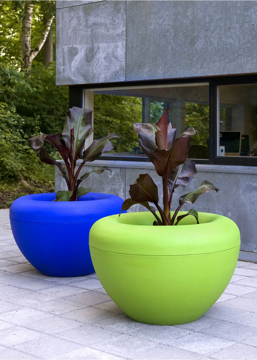 Blue and Green Public Planters