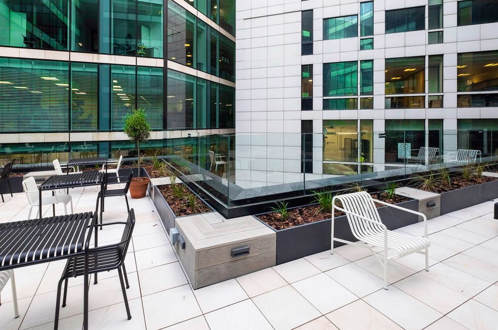 bespoke_steel_planters_and_composite_timber_seating