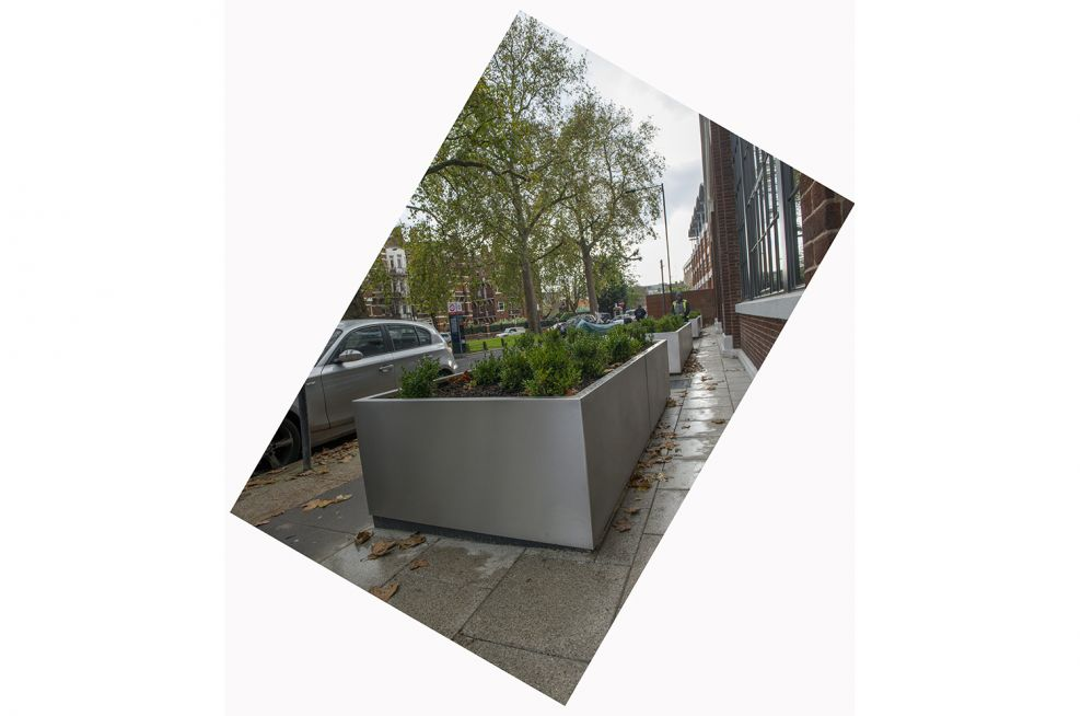 Stainless steel finished weatherproof external planting trough