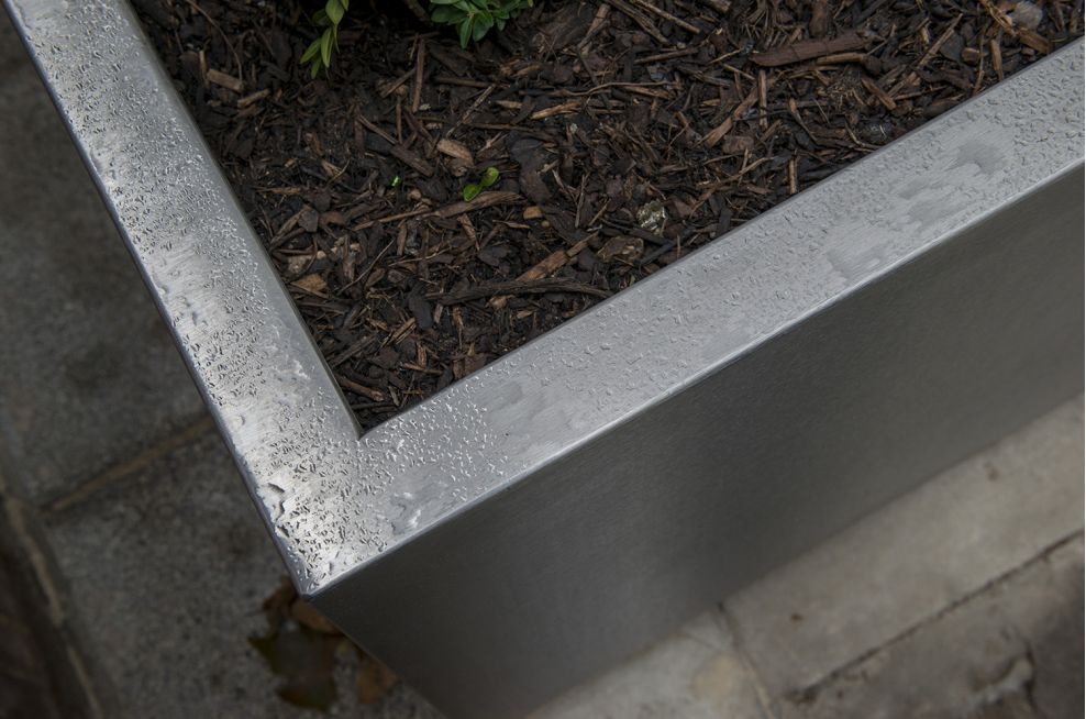 304-Grade stainless steel planters for the public realm