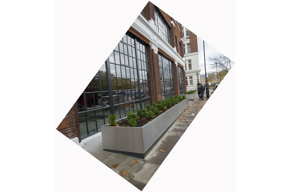 Over 8m stainless steel planter outside London offices