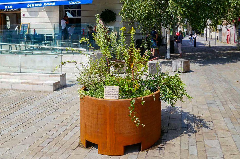 Custom sized weathered corten planter