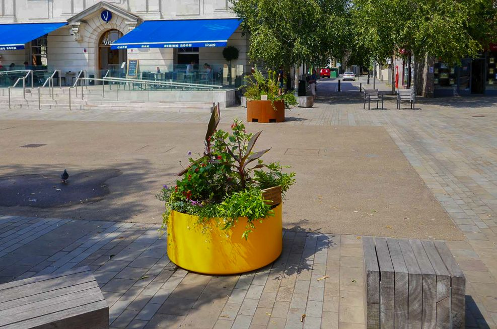 Custom coloured planter for public space