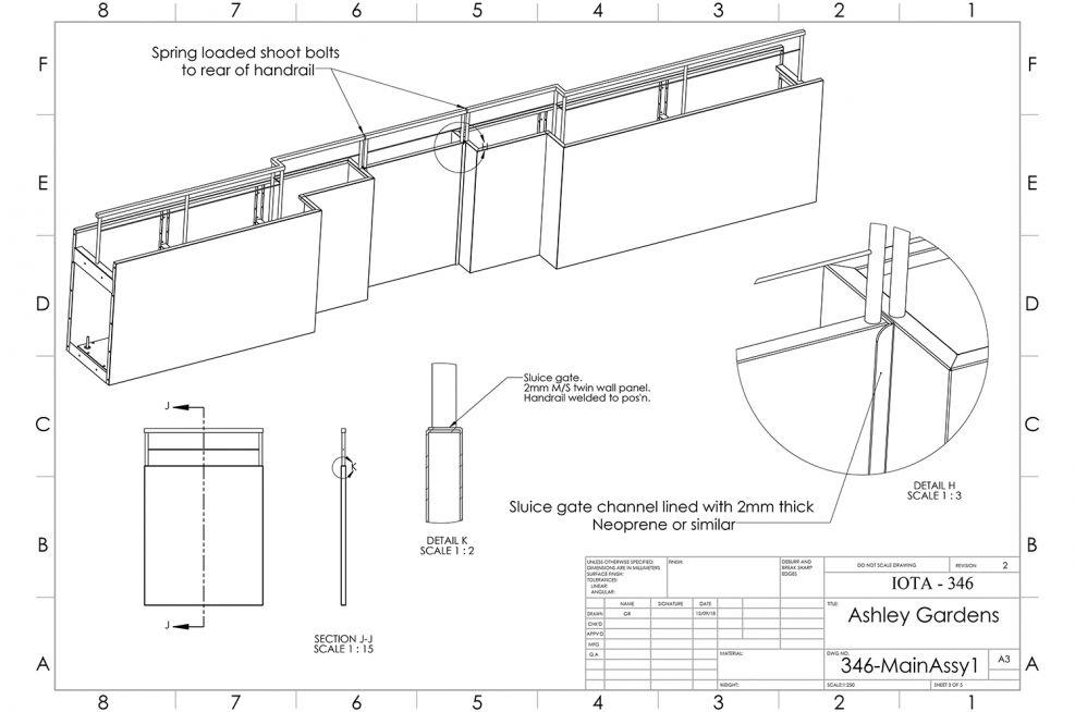 Planter design with integrated sluice gate