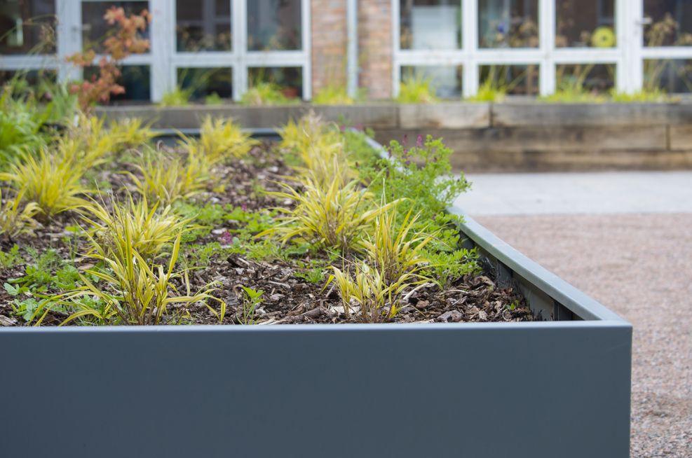 Custom extra large planters in weatherproof Zintec steel