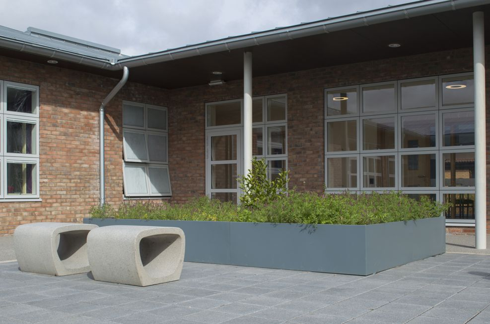 External planting and seating in the Autism Day Care courtyard
