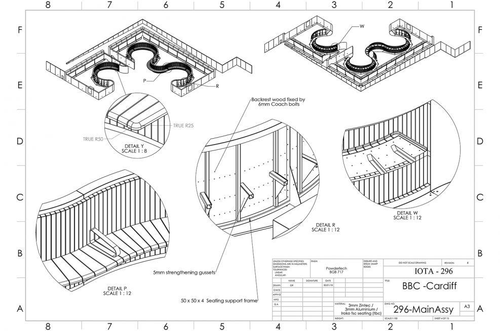 Sectional Iroko Timber Bench Design