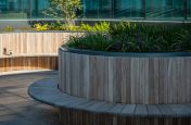 Commercial Curved Bench Planter