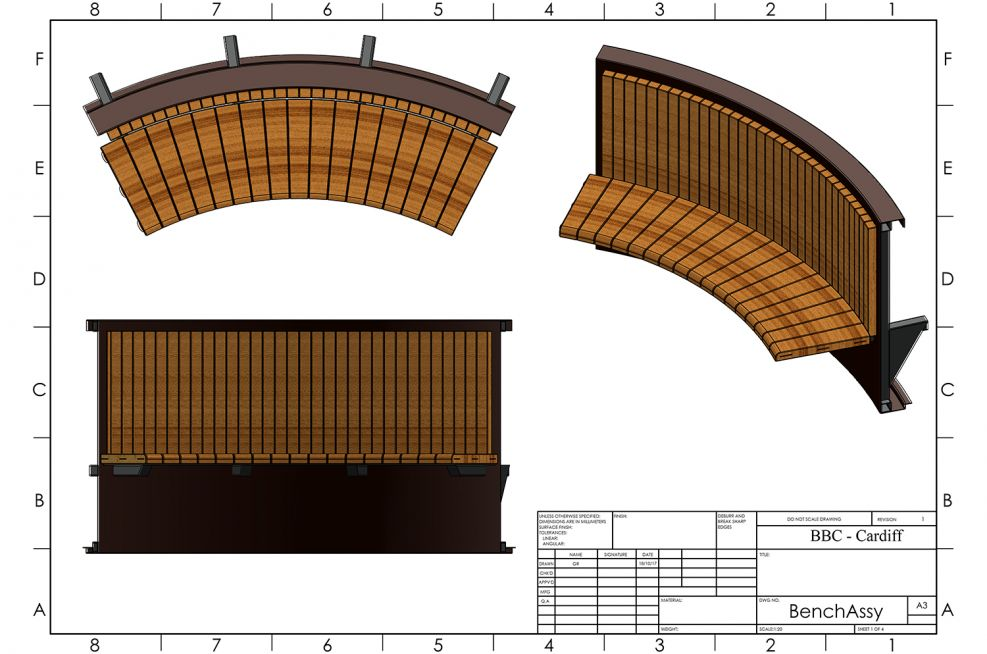 Bespoke Curved Timber Bench Design