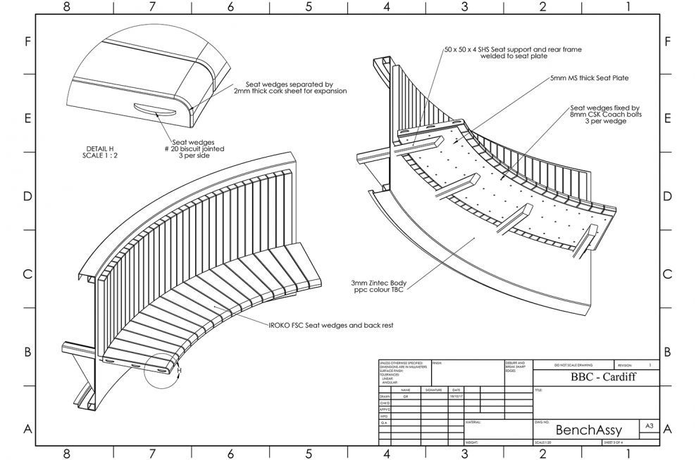 Metal and Timber Bench CAD Design