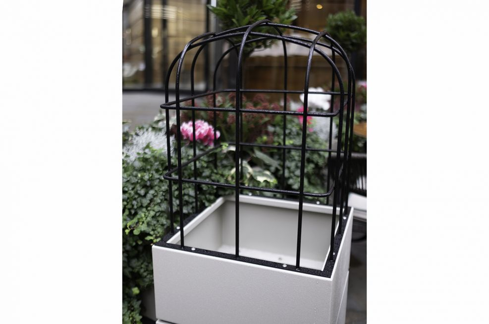 Planters with birdcage covering
