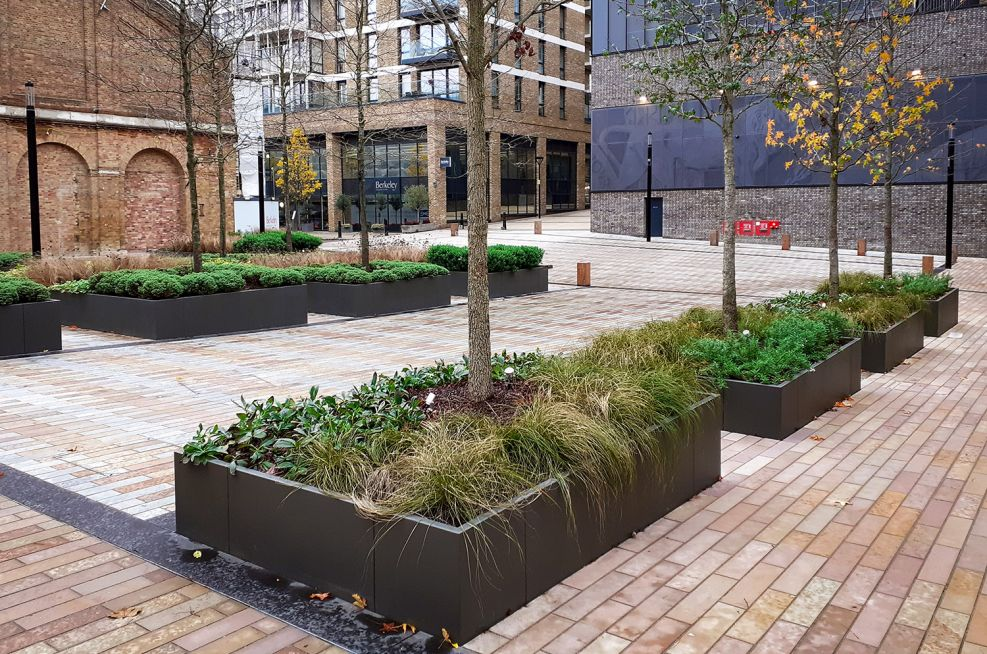 Large planters on sloping ground