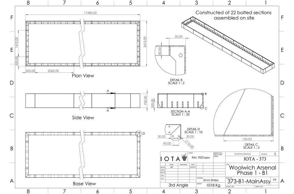 Open bottom planting perimeter design
