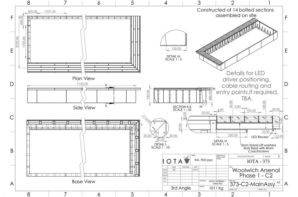 Open bottom planting perimeter benching CAD