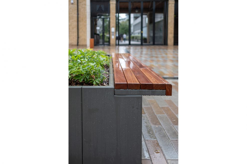 Steel planters with bench