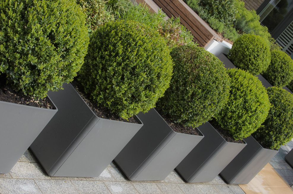 Square Boulevard Planters Grey
