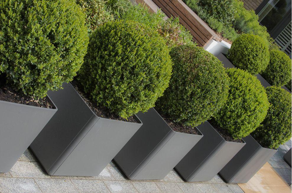 Square Boulevard Planters Grey