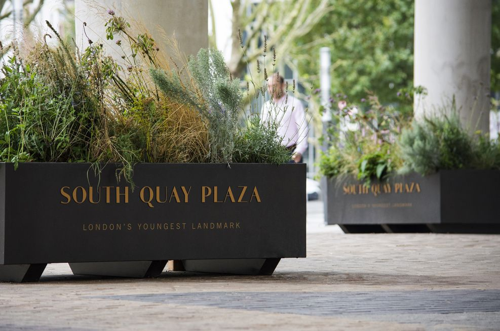 Planters With Polyester Coating, Raised Lettering and Printed Vinyl Decal