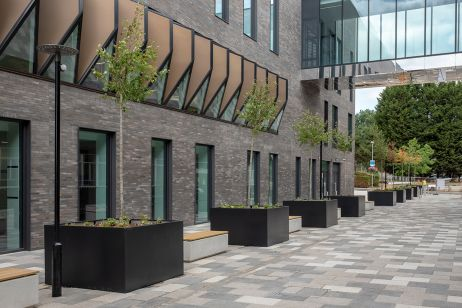 Large metal tree planters for Birmingham University