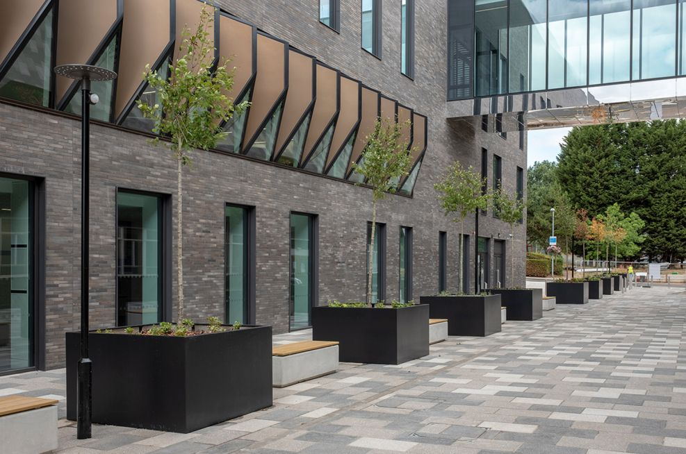 Large metal tree planters for Birmingham University