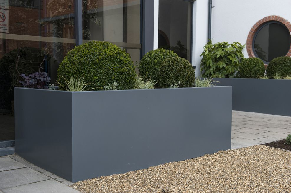 Large Trough Planters Made From Stainless Steel