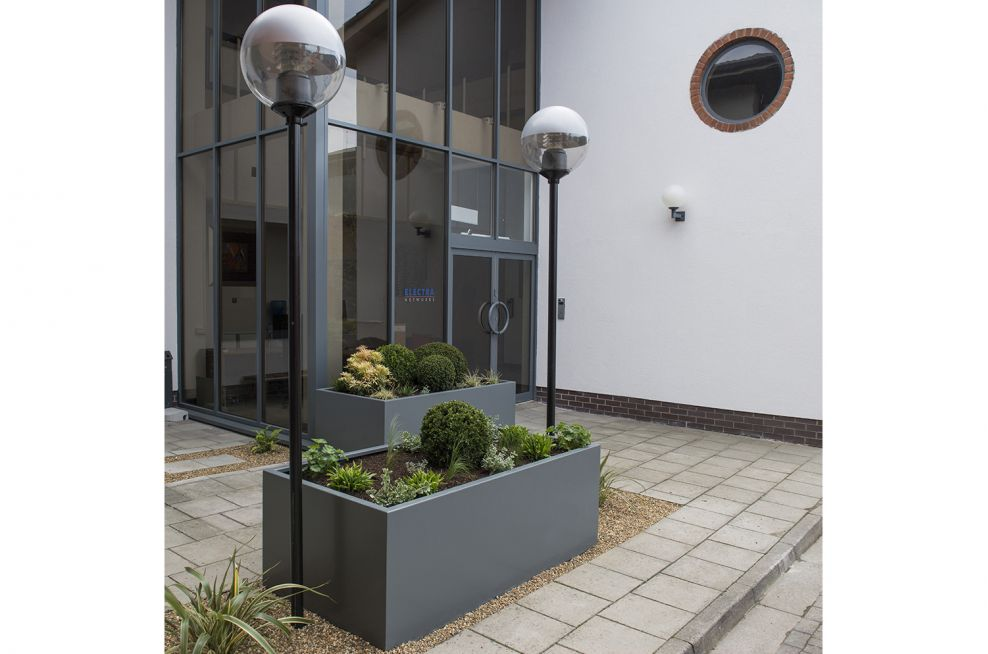 Powder Coated Steel Planters Of Various Sizes
