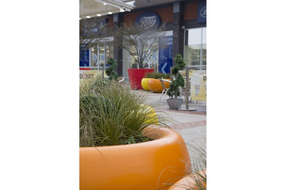 FRC Coloured Planters at Broughton Shopping Park