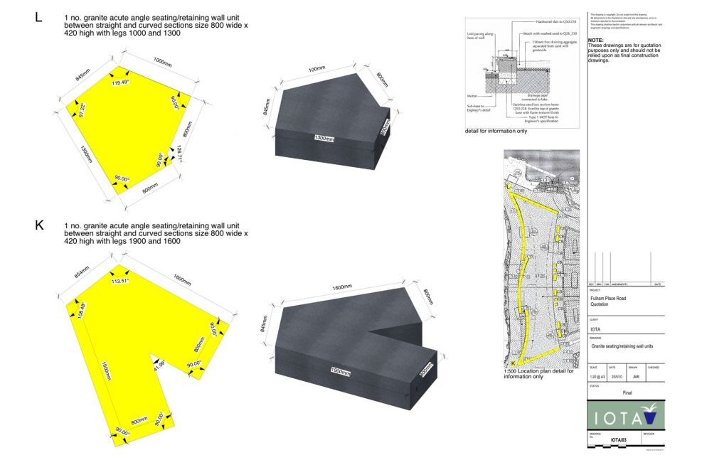 CAD Designs Featuring IOTA Granite Seating