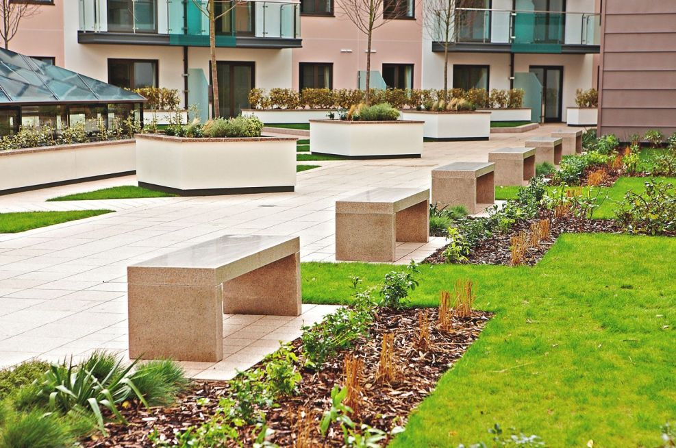 Bespoke Granite Bench Project At Castle Quay, Jersey