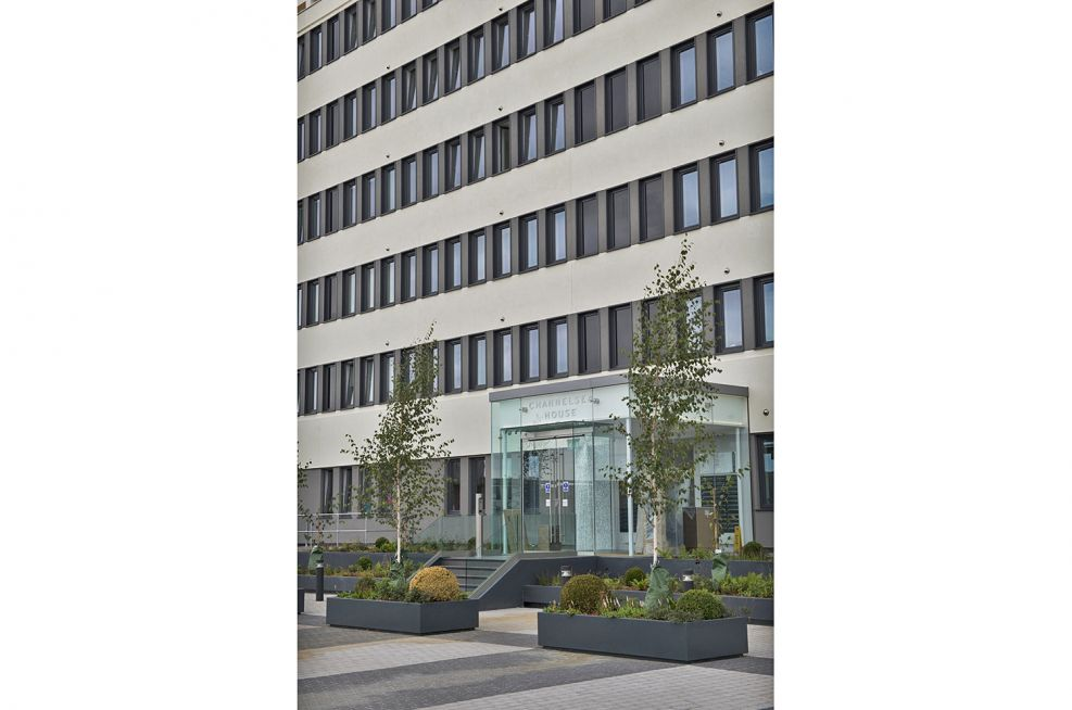 600mm Powder Coated Steel Planters at Centre Point, London