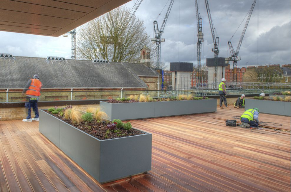 Sepia Brown and Mouse Grey Stainless Steel Planters