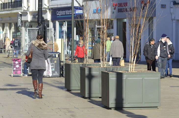 Steel tree planters in Cheltenham High Street