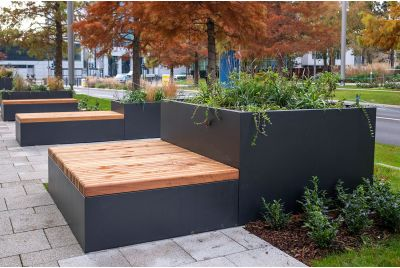 Steel planters and timber benching