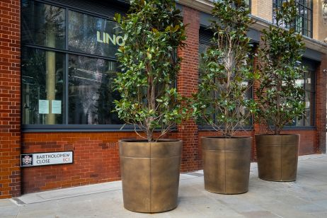 Bartholomew Close bronze tree planters