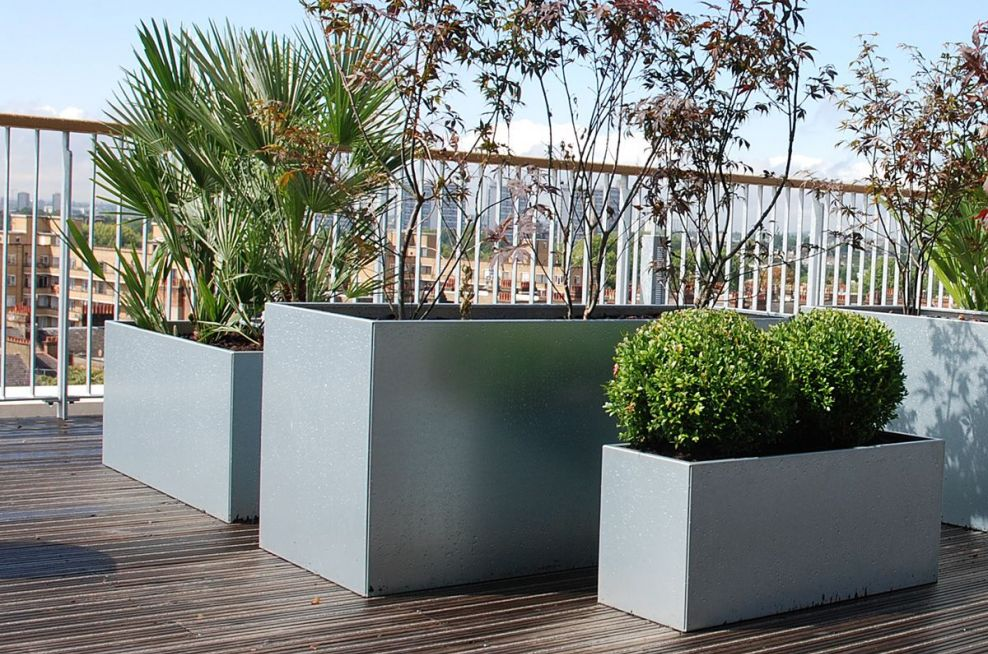 Steel Planters With a Galvanised Finish
