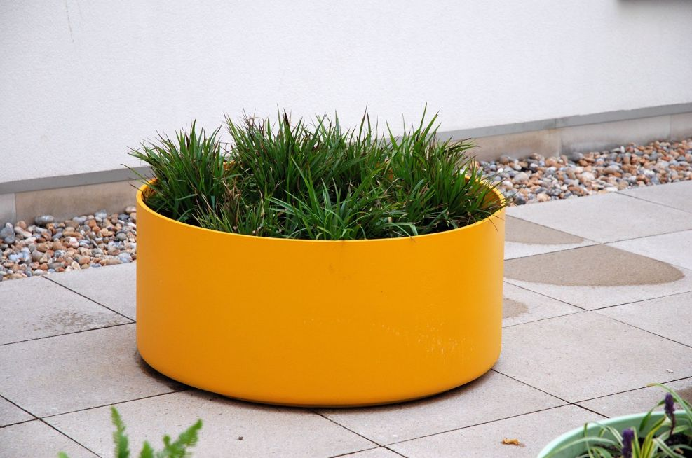 Round External Planters With Custom Coloured