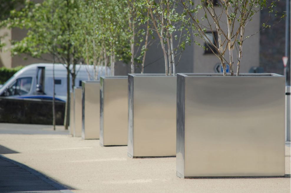 Bespoke Stainless Steel Planters With A Polyester Powder Coatings