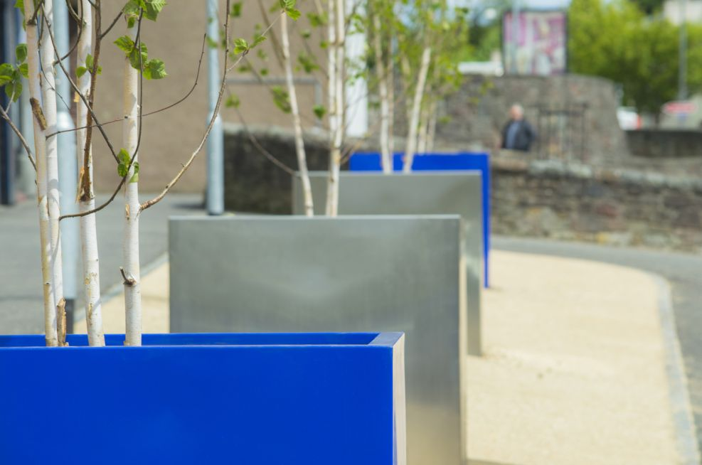 Stainless Steel Planters with a Brushed Finish